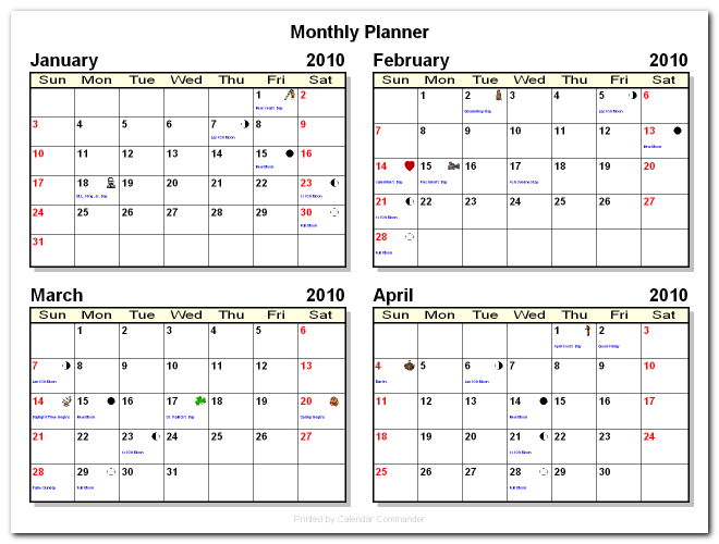 Briggs Softworks: Calendar Commander - Sample Calendars