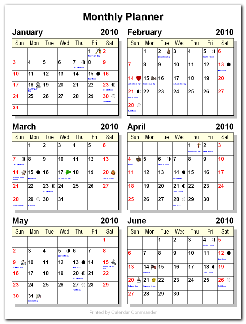 Briggs Softworks: Calendar Commander - Sample Calendars