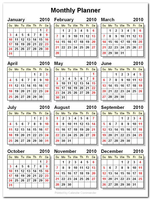sample monthly calendars
